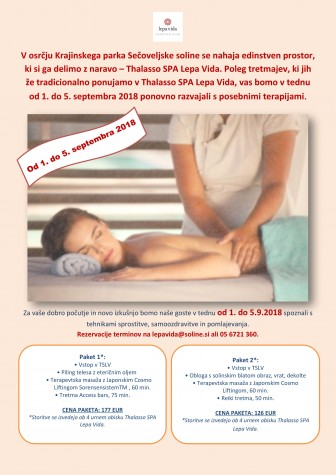 Japonski cosmo lifting, Access Bars in Reiki terapije ponovno v Thalasso SPA Lepa Vida